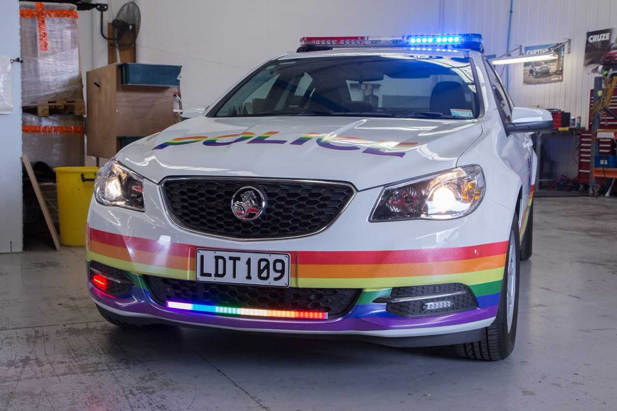 NZ Police Rainbow Car